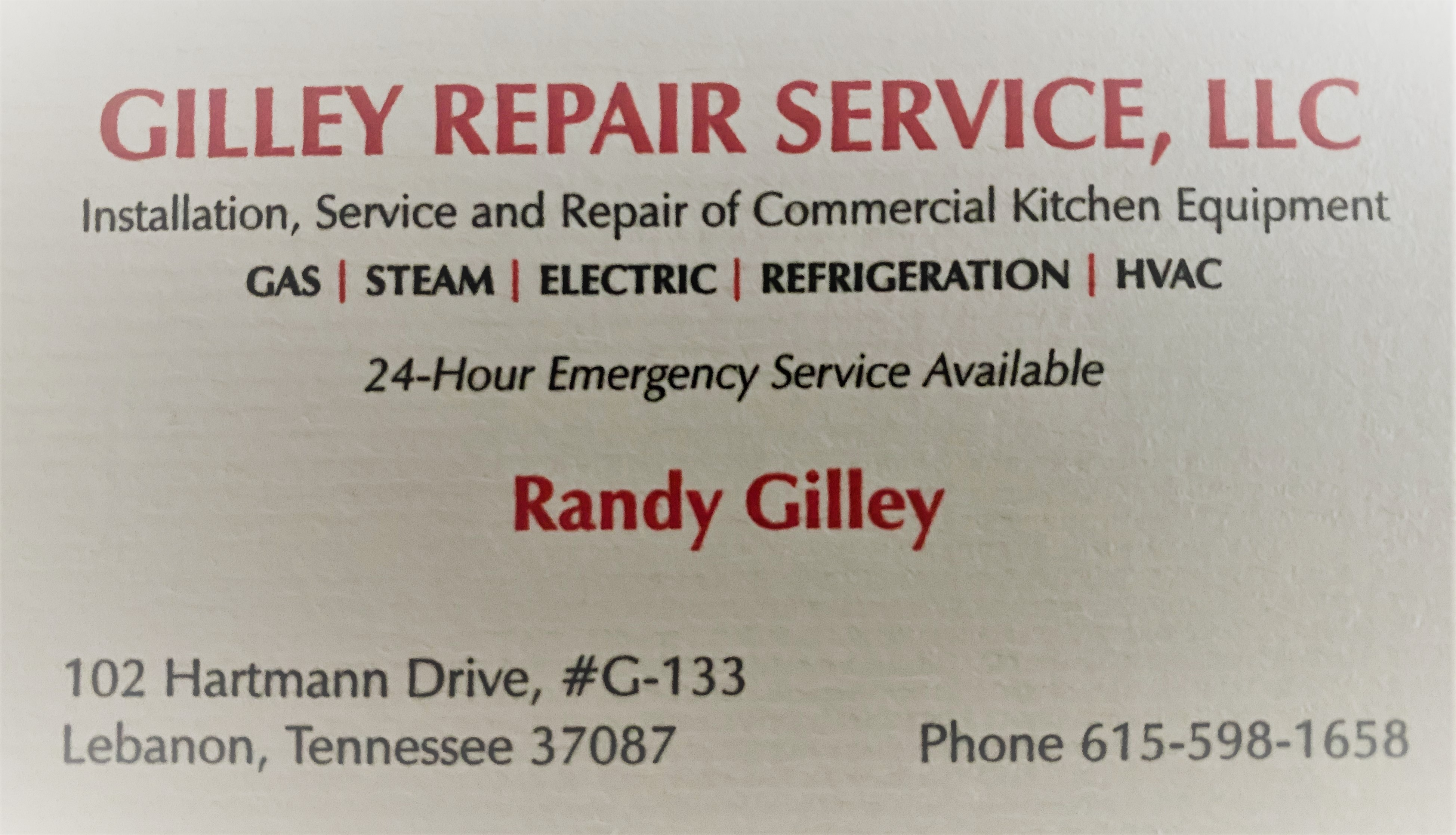 Gilley Repair Service business card